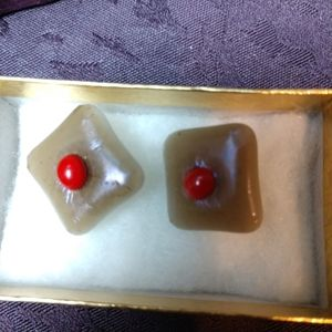 Unique handcrafted fused Glass post  earrings OOAK